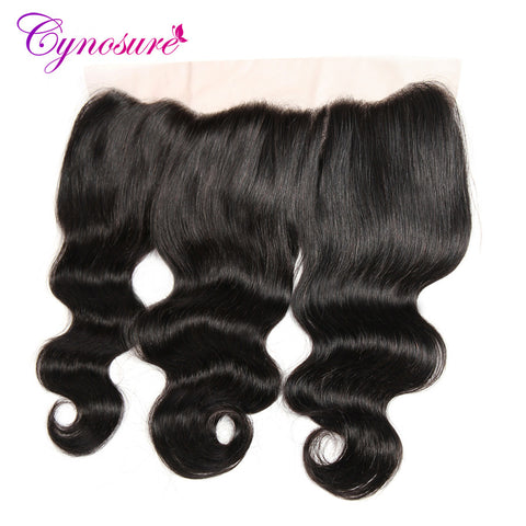 Cynosure Peruvian Body Wave Frontal 100% Human Hair 13x4 Ear to Ear Lace Frontal Closure Remy Hair Natural Color Free Part