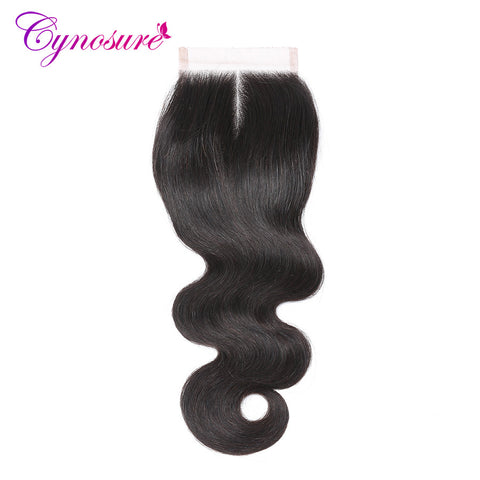 Cynosure Brazilian Body Wave Lace Closure Middle Part 4''x 4'' Remy Hair Closure Natural Color 100% Human Hair Free Shipping