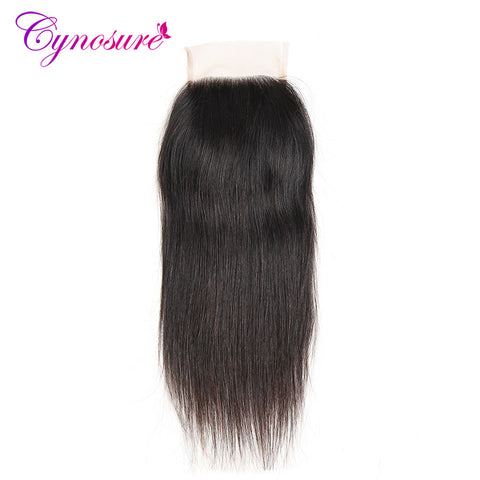 Cynosure Brazilian Straight Hair Lace Closure Free Part 4 x 4 Remy Hair Closure Natural Color 100% Human Hair Free Shipping