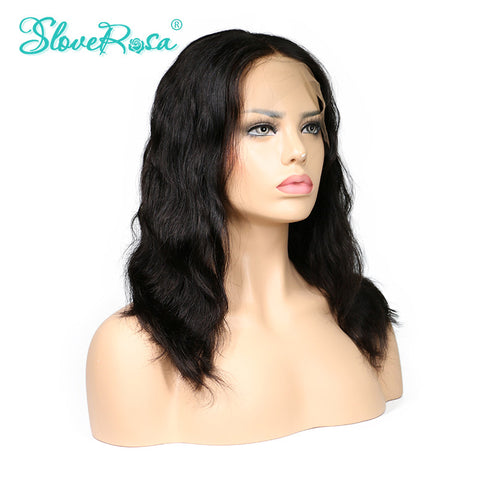 Slove Rosa Glueless Short Bob Wigs Brazilian Human Remy Lace Front Natural Wave Wigs For Black Women Combs And Adjust Belt