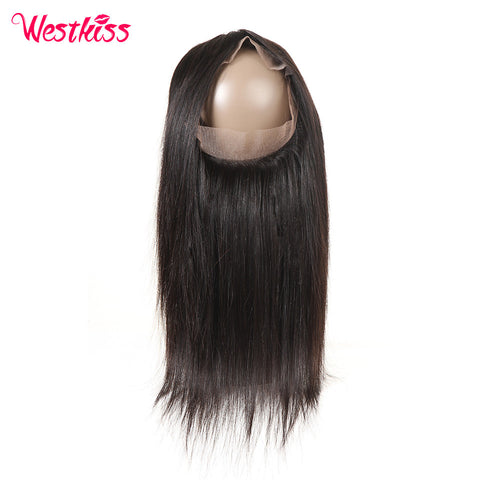 West Kiss Brazilian Straight Remy Hair Free Part 22.5x4x2 Inch Natural Black 360 Full Lace Frontal Free Shipping