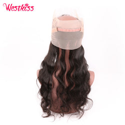 West Kiss Free Part 22.5X4X2 Inch 360 Full Lace Frontal Natural Black Brazilian Body Wave Remy Human Hair Free Shipping