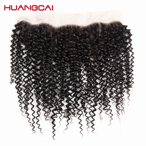 Huangcai Curly Human Hair Lace Frontal Ear To Ear 13x4inch Natural Black Color Hand Tied Frontal No Remy 130% Density 8-18inch