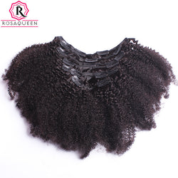 Kinky Curly Clip In Human Hair Extensions African American 4B 4C Afro Curly Non-remy 100% Human Hair Natural Black Rosa Queen