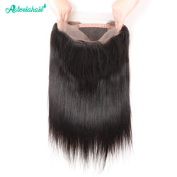 Asteria Hair Brazilian Straight Remy Hair Free Part 22.5x4x2 Inch Natural Black 360 Full Lace Frontal Free Shipping