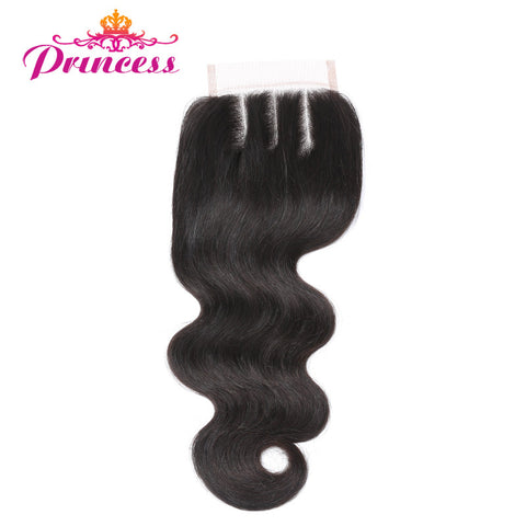 "Beautiful Princess Brazilian Body Wave Lace Closure Three Part 4x4 Natural Color 8""-20"" Remy Hair Closure"