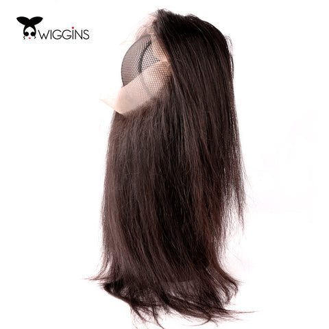 Wiggins Brazilian Hair Closure Straight Hair Natural Color  360 lace frontal  With Baby Hair 100% Remy Human Hair Free Shipping