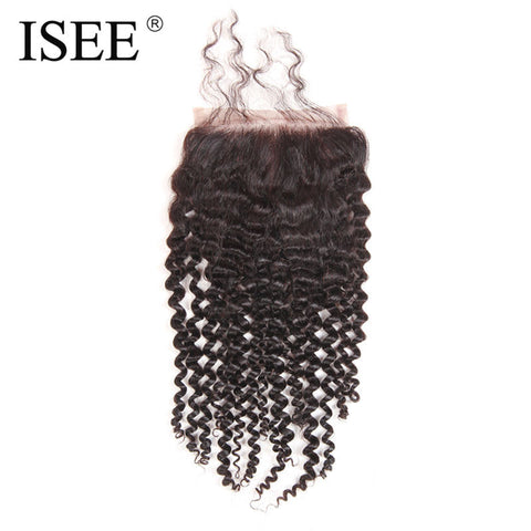 "ISEE Remy Human Hair Kinky Curly Hand Tied Lace Based Closure 4""*4"" Free Part"