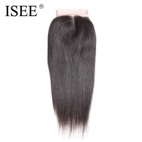 "ISEE 4""*4"" Lace Closure Straight Hair Remy Human Hair Middle Part Free Shipping Medium Brown"