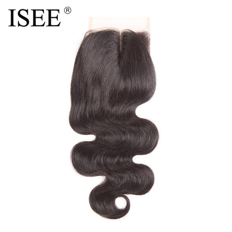ISEE Brazilian Body Wave Remy Human Hair Lace Closure Middle Part Hand Tied Free Shipping
