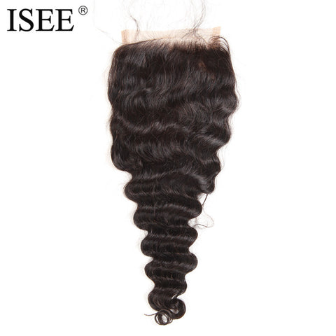 "ISEE Loose Wave Swiss Lace Based Closure Remy Hair Free Part 4""*4"" Can Be Dyed Free Shipping"