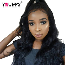 You May Hair Pre Plucked 360 Lace Frontal Closure With Baby Hair Body Wave 100% Brazilian Remy Hair Natural Black 12-20inch