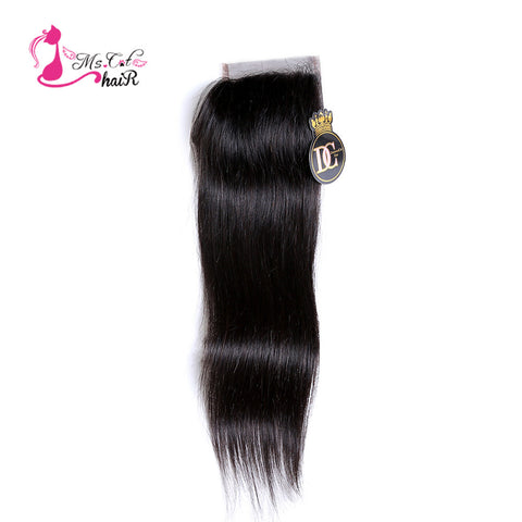 "Ms Cat Hair Peruvian Straight Hair Lace Closure Lace Size 4""X4"" 100% Human Hair Remy Hair Natural Black 8""-20"" Free Part"
