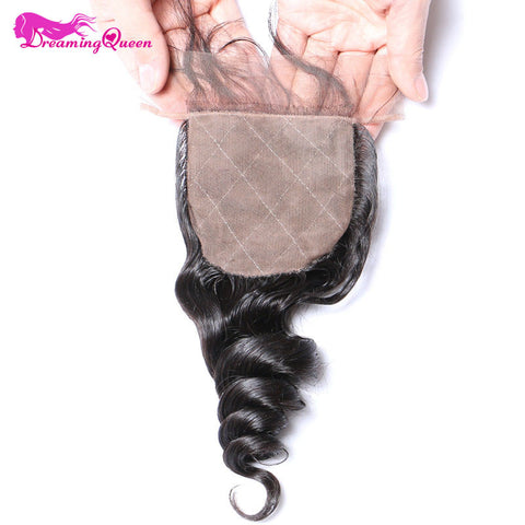 Dreaming Queen Hair Loose Wave Peruvian Remy Hair Silk Base Closure 4*4 Closure Bleached Knots With Baby Hair Natural Hairline