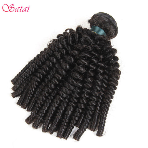 Satai Afro Kinky Curly Hair Human Hair Bundles Peruvian Hair Weave 8-26 inch Natural Color 100% Remy Hair 1 Piece Only