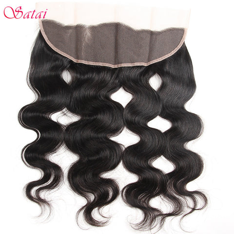 Satai Body Wave Ear To Ear Closure 13*4 Lace Frontal 100% Human Hair with Bleached Knots 10-18 inch Natural Color 1 Bundle Only