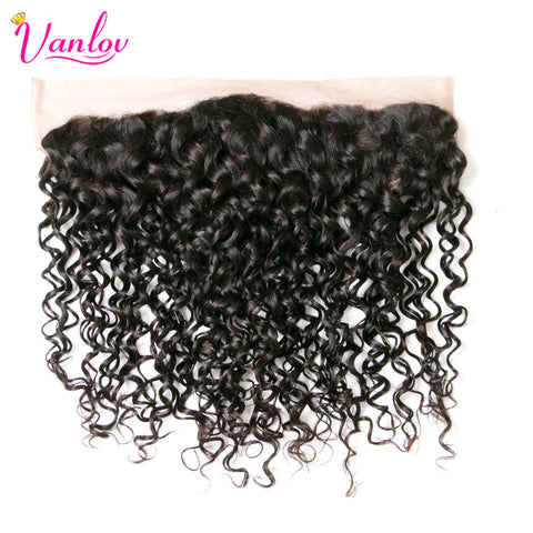 Vanlov Water Wave Ear To Ear Lace Frontal Closure Non Remy Human Hair Bundles Free Part Natural Color Weaving Free Shipping