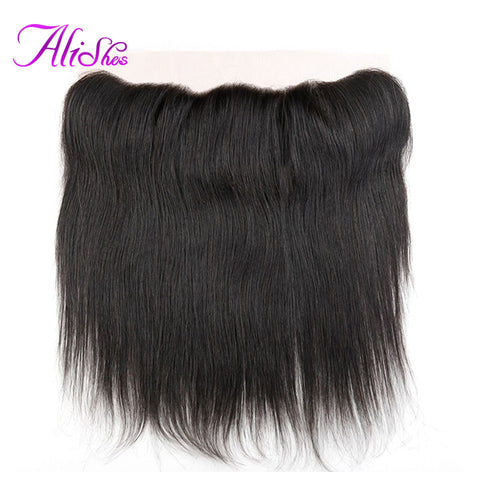Alishes Hair Free Part Brazilian Straight Hair 13x4 Ear to Ear Lace Frontal With Baby Hair Bleached Knots Non Remy Human Hair