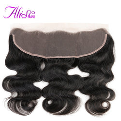 Alishes Hair Brazilian Body Wave Hair Lace Frontal Ear to Ear Bleached Knots Free Part Non Remy Human Hair 8-22 inch