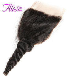 Alishes Hair Brazilian Loose Wave Closure Free Part 4x4 Lace Closure With Baby Hair Bleached Knots Non-Remy 100% Human Hair