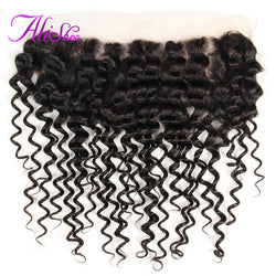Alishes Hair Products Brazilian Curly Hair Lace Frontal 13*4 Free Part Bleached Knots Ear to Ear Non-Remy Human Hair Can Be Dyed