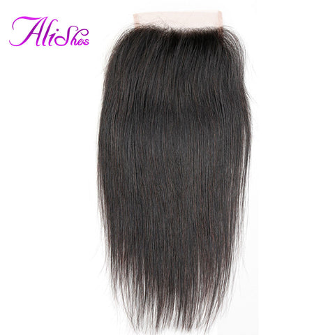 Alishes Peruvian Straight Hair Non-Remy Free Part Lace Closure Bleach Knots With Baby Hair 100% Human Hair Free Shipping