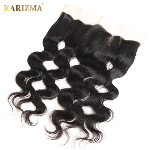 "Karizma Remy Hair Body Wave Lace Frontal 13""X4"" Free Part Closure 100% Human Hair Natural Color 10-18inch"