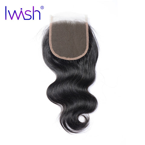 Iwish Brazilian Remy Hair Body Wave Swiss Lace Closure 4x4 inch Free Part 100% Human Hair 8-20 inch Free Shipping