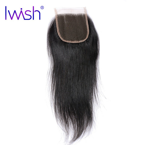 Iwish Brazilian Remy Hair Straight Swiss Lace Closure 4x4 inch Free Part 100% Human Hair 8-20 inch Free Shipping
