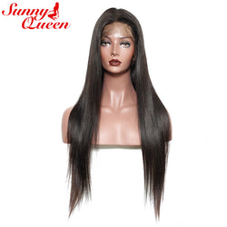 "Brazilian Lace Front Human Hair Wigs 250% High Density Straight Wave None Remy Wig Sunny Queen 14-24"" Nature Color"