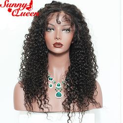 "250% Density Lace Front Human Hair Wigs For Black Women 14-24"" Brazilian Curly Wig Remy Nature Color Sunny Queen"