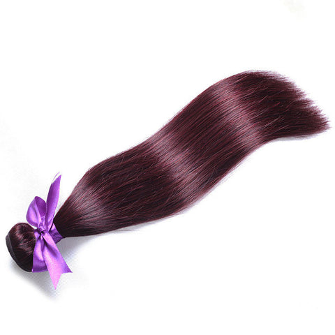 [Shining Star]Red Brazilian Straight Hair Weave Bundles Blends Well Burgundy Human Hair Extensions 10-26 Non Remy Hair One Piece