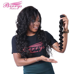 [Berrys Fashion] Peruvian virgin hair Weave Loose Wave Hair Extension 1PC/lot 100% Unprocessed Human Hair Bundles 100g Hair Weft