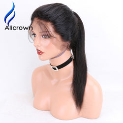 Alicrown 360 Lace Frontal Human Hair Wigs For Black Women Straight Brazilian Remy Hair Natural Color 150% Density Pre Plucked