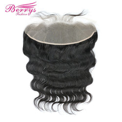 "[Berrys fashion]TRANSPARENT Body Wave Lace Frontal 13x4"" Brazilian Remy Hair Extensions with Baby Hair Bleached Knots 10-20 inch"