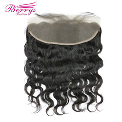 "[Berrys Fashion] Brazilian Lace Frontal Virgin Hair 13x4"" Body Wave Human Hair Extensions Free Part  Pre Plucked for Black Women"