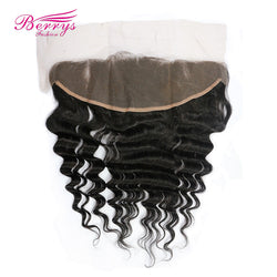 [Berrys Fashion]Lace Frontal Closure Peruvian Loose Wave 13x4 Lace Frontal Remy Human Hair  Natural Hairline Bleached Knots