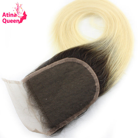 Atina Queen Dark Roots Blonde Straight Closure Piece with Baby Hair Two Tone Ombre Human Hair 4*4 1b 613 Lace Closure