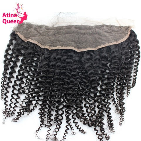 Atina Queen Afro Kinky Curly 13x4 Ear to Ear Lace Frontal Closure with Baby Hair Natural Hairline 100% Human Hair Free Shipping