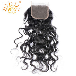Sunlight Human Hair Brazilian Water Wave 4x4 Top Lace Closure Free Style 100% Remy Human Hair 10in-20in Free Shipping