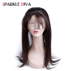 [SPARKLE DIVA HAIR] Peruvian Straight 360 Lace Frontal Closure With Baby Hair Pre Plucked 100% Remy Human Hair Natural Hairline