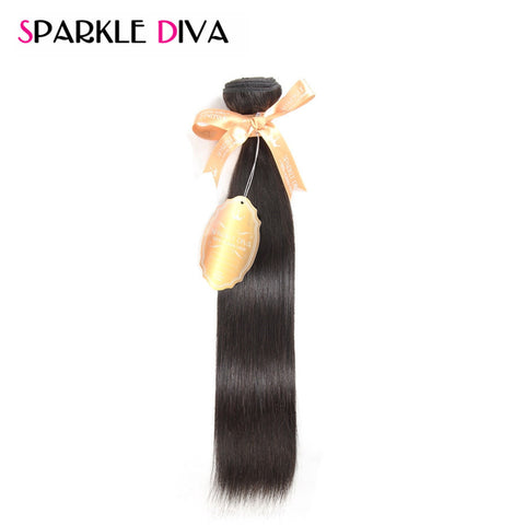 "[SPARKLE DIVA HAIR] Straight Peruvian Virgin Hair Unprocessed Human Hair Weave Bundles 12""-28"" Inch Natural Color 1 Piece Only"