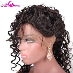 "Ali Coco Brazilian Deep Wave Full Lace Human Hair Wigs with Baby Hair 8-24"" Natural Color"