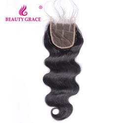 Beauty Grace Brazilian Body Wave Lace Closure With Baby Hair 4x4 Remy 100% Human Hair Three Part Top Closure Bleached Knots