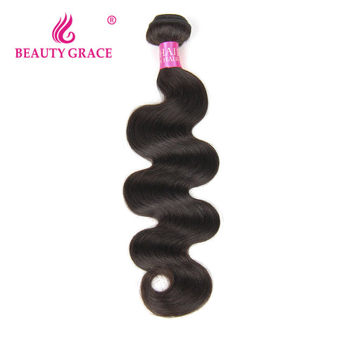 Beauty Grace Brazilian Body Wave Hair Weave Bundles 1 Piece Natural Color Remy Hair 100% Human Hair Weaving Free Shipping