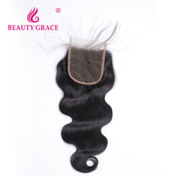 Beauty Grace Brazilian Body Wave Lace Closure With Baby Hair 4x4 Remy 100% Human Hair Free Part Top Closure Bleached Knots
