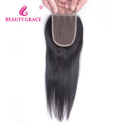 Beauty Grace Brazilian Straight Lace Closure With Baby Hair 4x4 100% Remy Human Hair Three Part Top Closure Bleached Knots