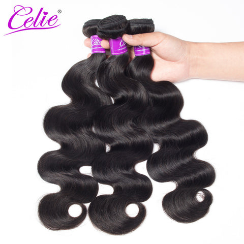 Celie Hair Brazilian Body Wave Hair Weave Bundles Natural Black Color 8-28 Inch Remy Human Hair Bundles No Tangle No Shedding