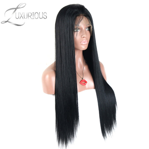 Luxurious Silky Straight Lace Front Human Hair Wigs For Black Women Brazilian Remy Hair Natural Hairline With Baby Hair 8-24inch