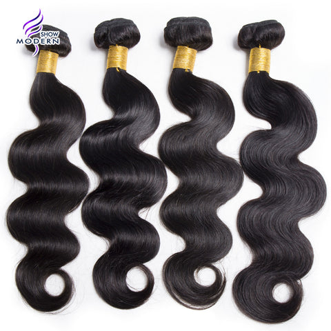 Modern Show Brazilian Body Wave Bundles None Remy Human Hair Weave 10-28 1Piece Natural Color Machine Double Weft Hair Extension